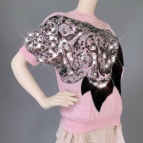 OS Vintage 1980s Pink Leopard Glitter Shirt