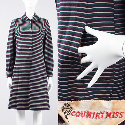 XL Vintage 60s Country Miss Stripe Shift Dress