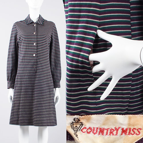 XL Vintage 60s Country Miss Stripe Shift Dress