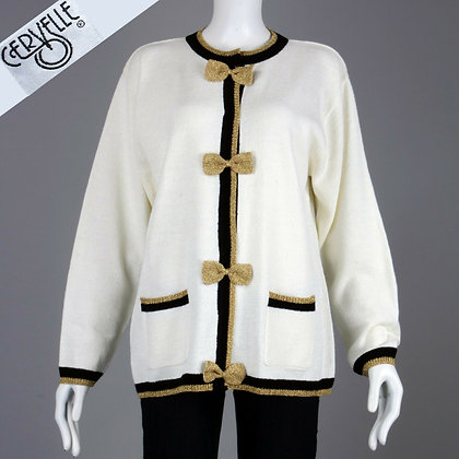 M/L Vintage 1980s Cervelle Metallic Bow Sailor Cardigan