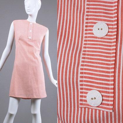 S Vintage 1960s Peach White Mini Dress