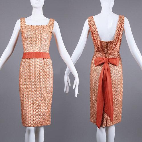 XS Vintage 1950s Peach Cream Lace Pencil Dress