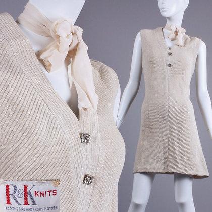 L Vintage 1960s Metallic Shift Dress
