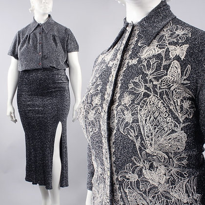 2XL Vintage 60s Sparkly Party Skirt Top 3pc set