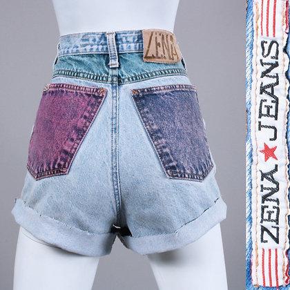 M Vintage 1980s Zena Multi Color Block Denim Jean Shorts