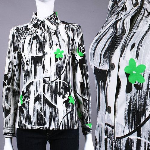 S/M Vintage 1960s B/W Neon Green Flowers Op Art Shirt