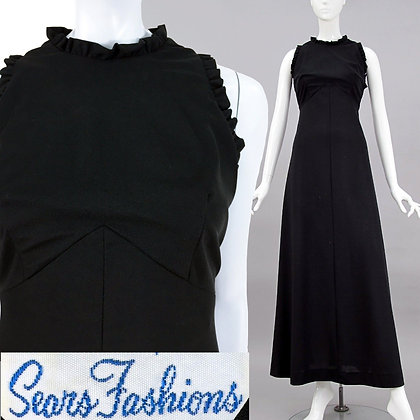 M Vintage 1960s Black Sleeveless Maxi Dress
