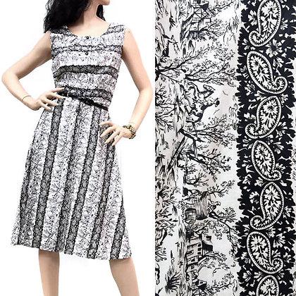 L/XL Vintage 1950s B/W Toile Dress
