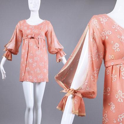 XS/S Vintage 1960s Peach Floral Linen Mini Dress