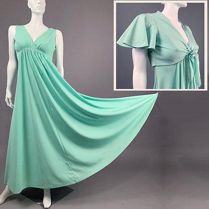 L Vintage 70s Green Maxi Dress Bolero Set