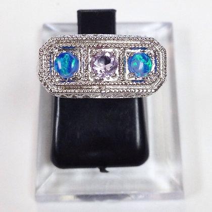 SIze 6 • Amethyst + Opal Sterling Silver Ring