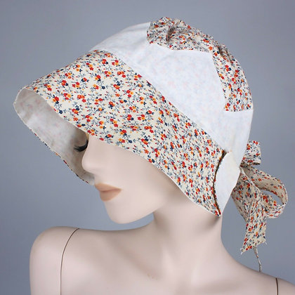 Vintage 1960s Cranston Print Works Calico Bonnet Prairie Hat