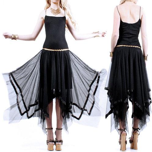 S/M Vintage 1990s Black Mesh Hankey Dress