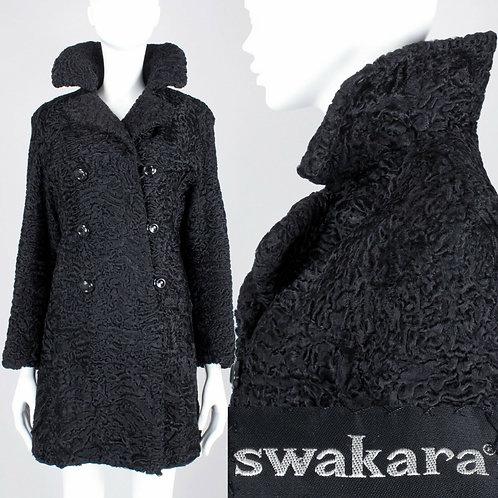 M/L Vintage 60s Swakara African Karakul Fur Coat