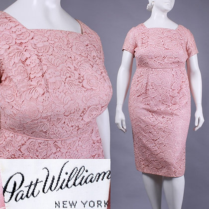 XL 18 Vintage 1950s Patt William Pink Lace Wiggle Dress