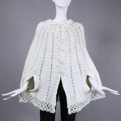 Vintage 1950s White Knit Crochet Shawl