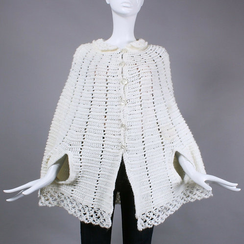 Vintage 1950s White Knit Crochet Shawl