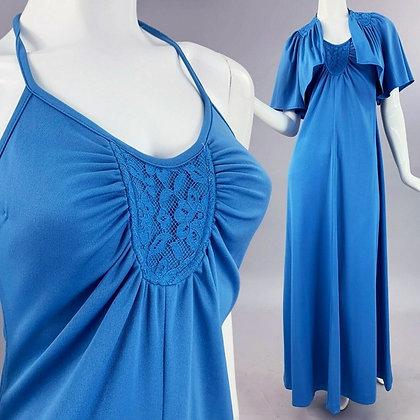 XS/S Vintage 70s Maxi Halter Dress + Cape Set