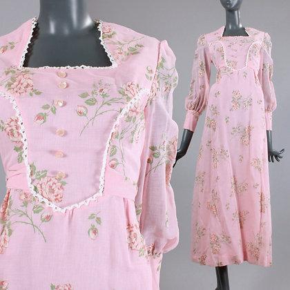 S/M Vintage 1970s Pink Prairie Maxi Dress