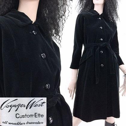 S/M Vintage 1960s Black Velvet Coat