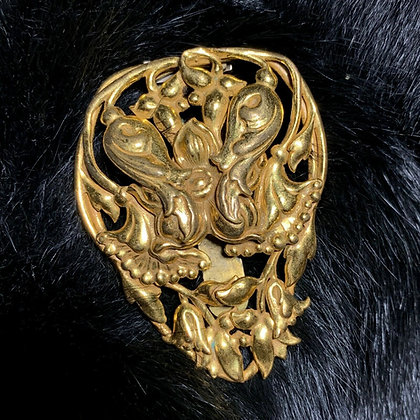 Art Nouveau Gilt Gold Fur Dress Clip