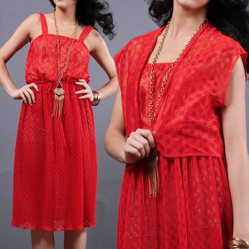 M/L Vintage 70s Sheer Lace Dress Set