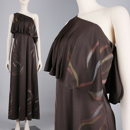 M Vintage 1970s Brown Brush Maxi Dress