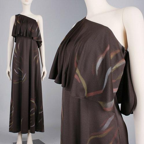 M Vintage 1970s Brown Brush Maxi Dress
