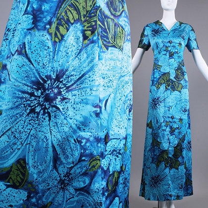 L Vintage 1960s Silky Blue Hawaiian Maxi Dress
