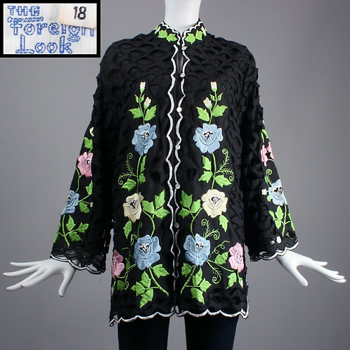 XL Vintage 60s Black FOREIGN LOOK Embroidered Cut Out Tunic