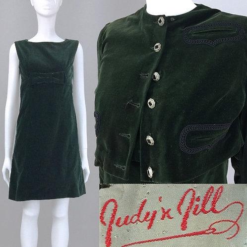 S Vintage 60s Green Velvet Dress & Bolero Set