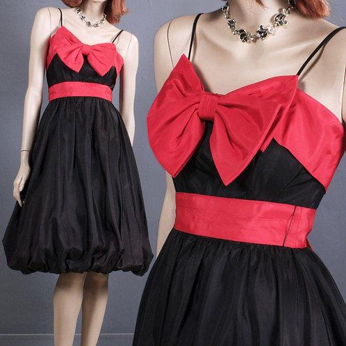 XS/S Vintage 1960s Red/Black Bubble Dress