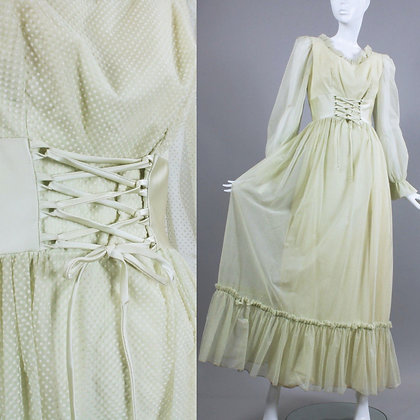 XS Vintage 1960s Mint Green Peasant Dress