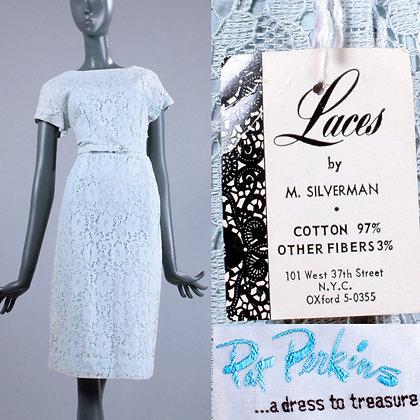 M Vintage 1950s NOS Pat Perkins Powder Blue Day Dress