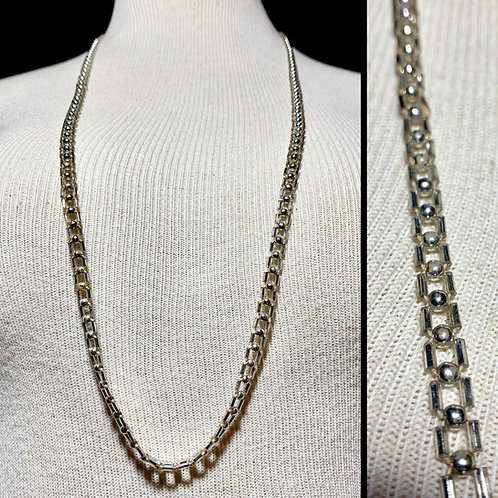 Antique 20s Clear Glass Tube Beaded Necklace
