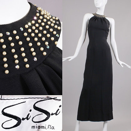 M/L Vintage 1950s Si Si Black Rayon Cocktail Dress