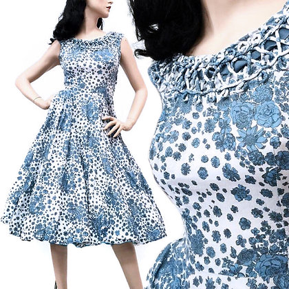 XS Vintage 1940s Blue Floral Tea Dress