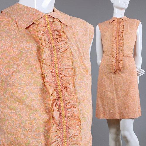 L Vintage 1960s Peach Paisley Mini Dress