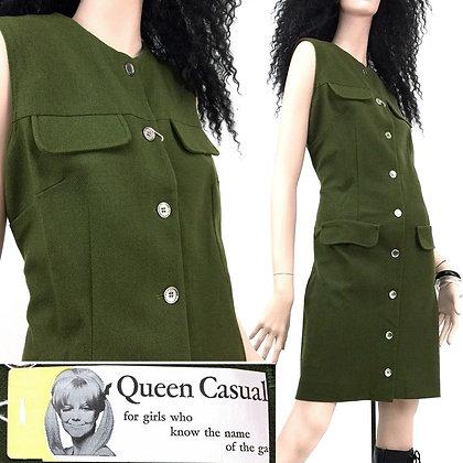 XL/2XL Vintage NOS 1960s Green Wool Mini Dress