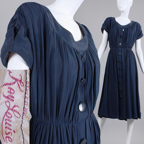 L Vintage 1940s Kay Louise Navy Blue Rayon Tea Dress