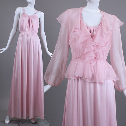 S Vintage 1970s Pink Silky Party Dress Set