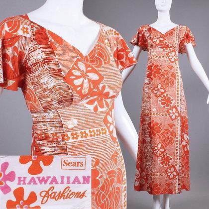 S/M Vintage 1960s Orange Sears Hawaiian Maxi Dress