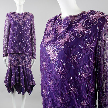 L/XL Vintage 80s Purple Glass Beaded Party Dress