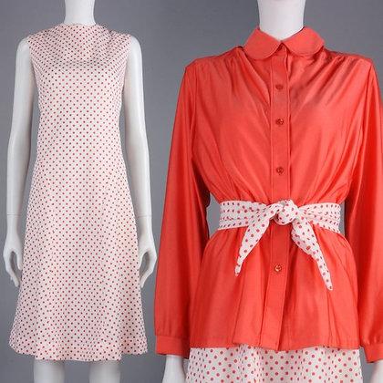 XL Vintage 60s Polka Dot Dress + Shirt 3pc Set