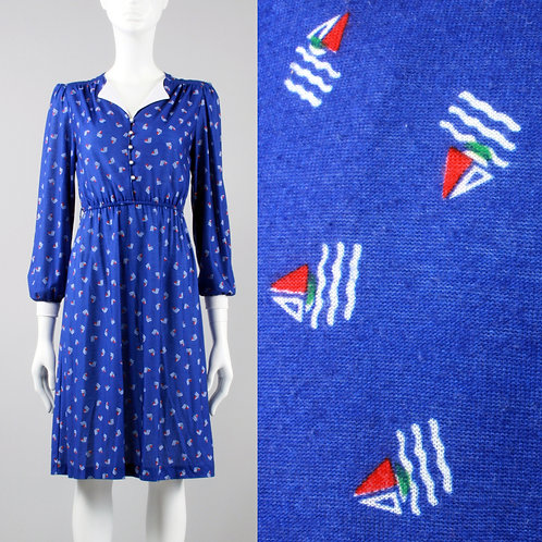 XS/S Vintage 70s SAIL BOAT Casual Dress