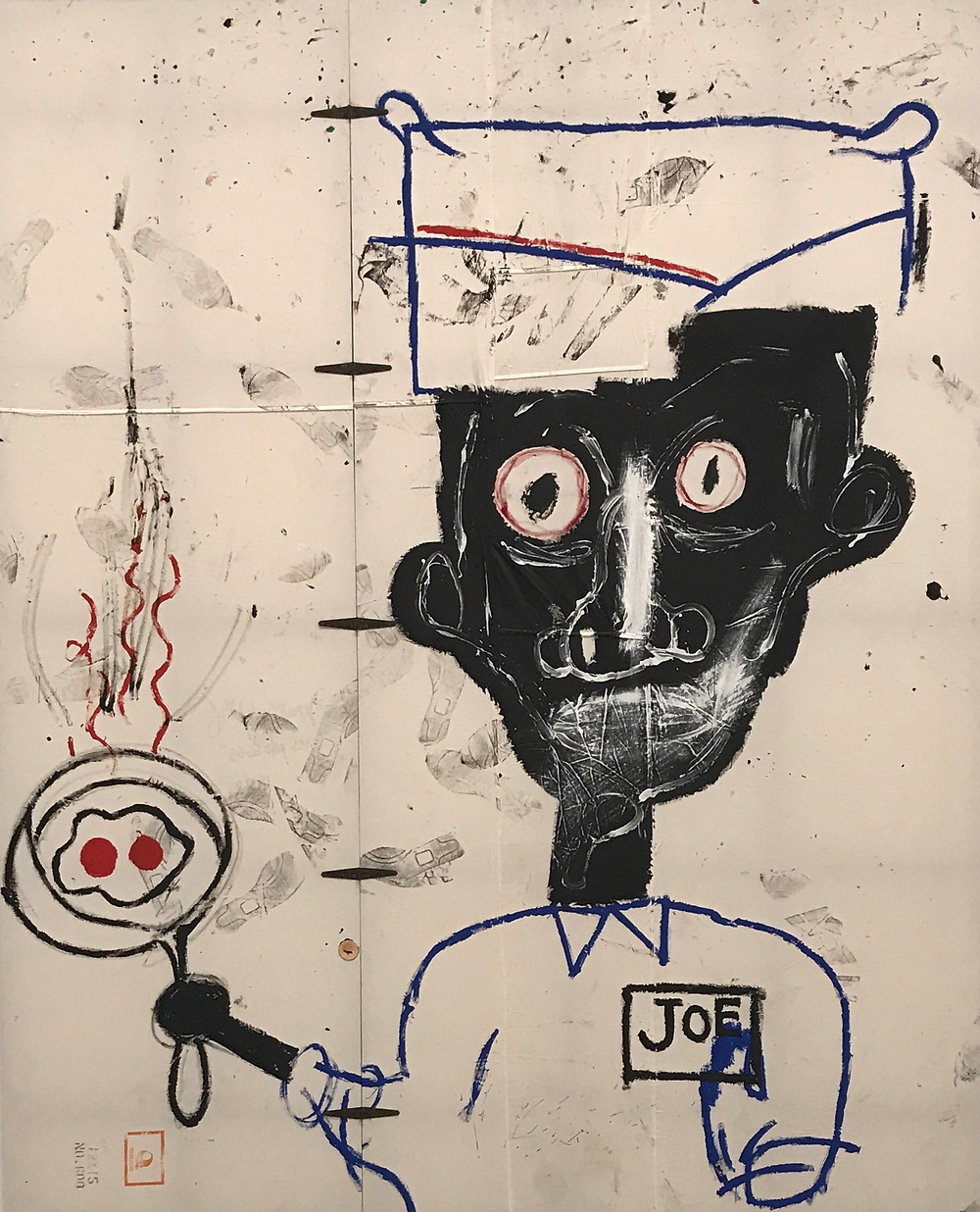 Jean‐Michel Basquiat 1983 acrylic, oilstick and paper collage on cotton drop cloth with metal hinges 119 x 97 in. (302.3 x 246.4 cm)