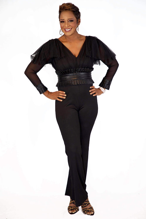 The versatile jumpsuit with faux leather belt an sheer sleeves