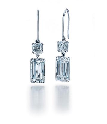 D Color VS1/2 Clarity Emerald Cut Earrings