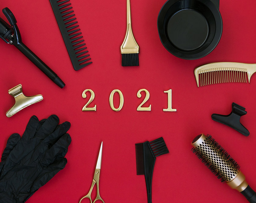 New year's banner with hairdressing tool
