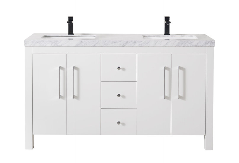 """Adler 60"""" White Double Sink Vanity with Drains and Faucets in Matte Black"""